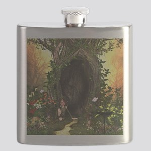 Cute, funny fairy in the wonderland Flask