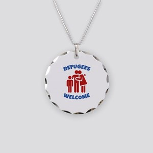 Refugees Welcome Necklace Circle Charm