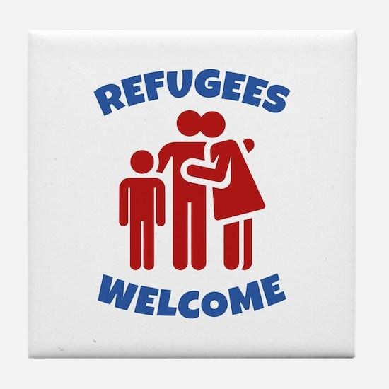 Refugees Welcome Tile Coaster
