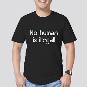No Human Is Illegal Men's Fitted T-Shirt (dark)