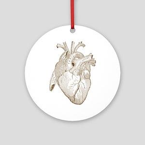 Vintage Heart Round Ornament