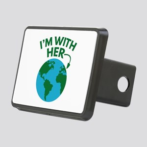 I'm With Her Rectangular Hitch Cover