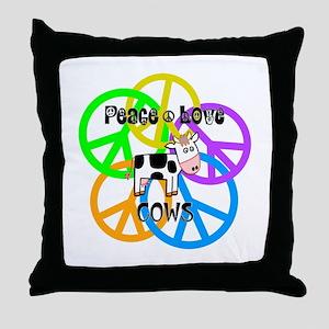 Peace Love Cows Throw Pillow