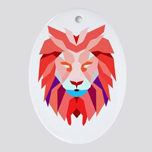 Polygonal Lion Oval Ornament