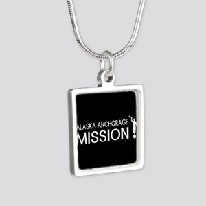 Alaska, Anchorage Mission Silver Square Necklace