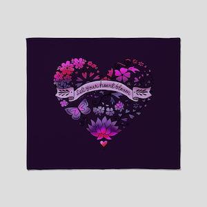 Let Your Heart Bloom Throw Blanket