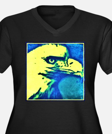 Eagle yellow and blue art Plus Size T-Shirt