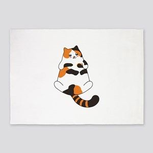 Kawaii Calico Lying Cat 5'x7'Area Rug