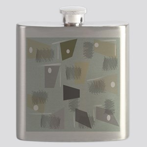 Mid-century Modern Green Abstract Flask