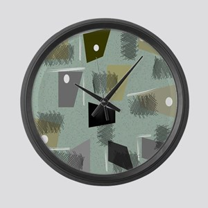 Mid-century Modern Green Abstract Large Wall Clock