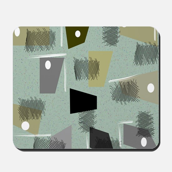 Mid-century Modern Green Abstract Mousepad