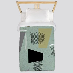 Mid-century Modern Green Abstract Twin Duvet