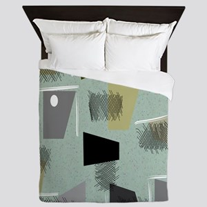 Mid-century Modern Green Abstract Queen Duvet
