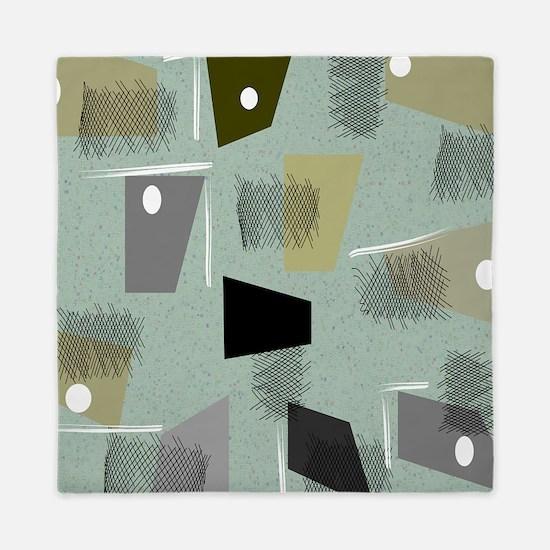 Mid-century Modern Green Abstract Queen Duvet