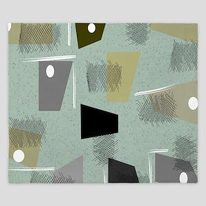 Mid-century Modern Green Abstract King Duvet