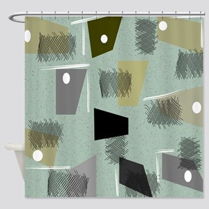 Mid-century Modern Green Abstract Shower Curtain