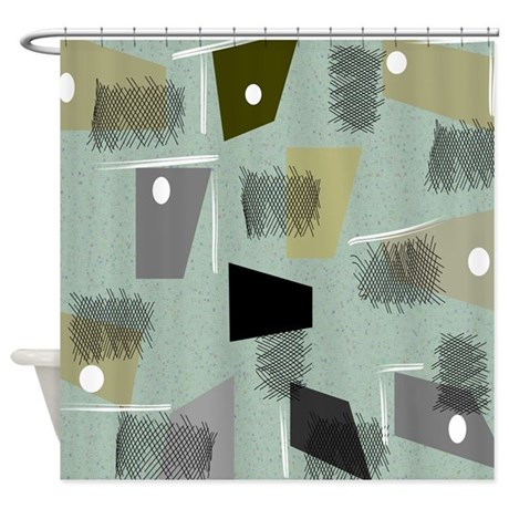 Mid Century Modern Green Abstract Shower Curtain