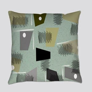 Mid-century Modern Green Abstract Everyday Pillow