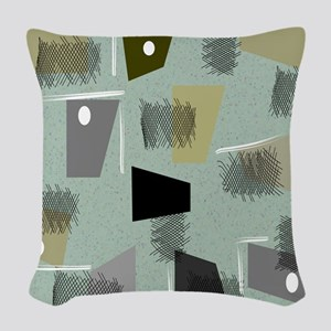 Mid-century Modern Green Abstr Woven Throw Pillow