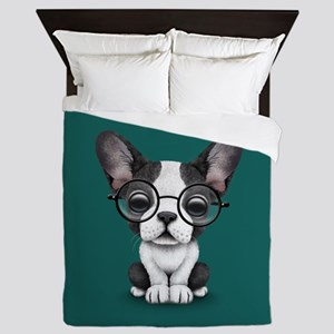 Cute French Bulldog Puppy with Glasses Queen Duvet