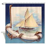Vintage Nautical Sail Boat Schooner Shower Curtain