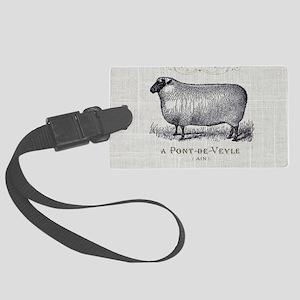 farm animal sheep farmhouse Large Luggage Tag
