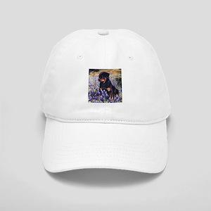 Rottweiler Pup in Flowers Baseball Cap