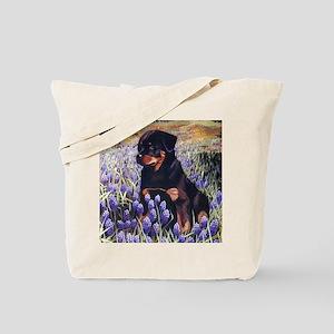 Rottweiler Pup in Flowers Tote Bag