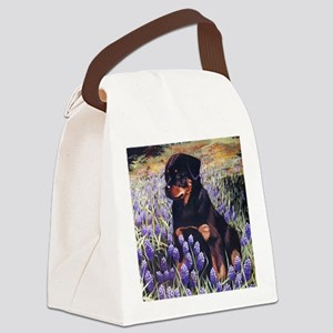 Rottweiler Pup in Flowers Canvas Lunch Bag