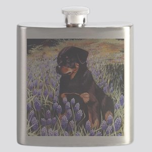Rottweiler Pup in Flowers Flask