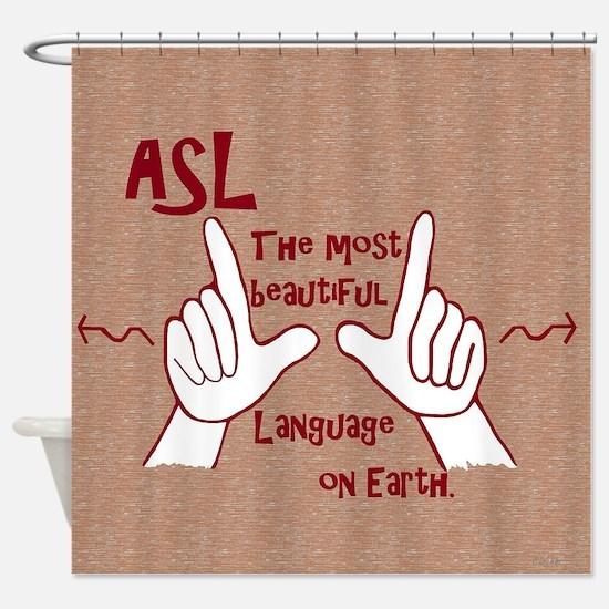 Cute American sign language Shower Curtain