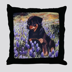 Rottweiler Pup in Flowers Throw Pillow