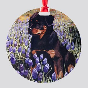 Rottweiler Pup In Flowers Round Ornament