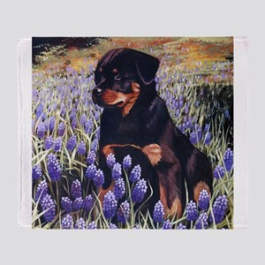Rottweiler Pup In Flowers Throw Blanket
