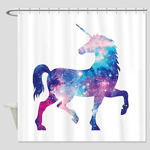 Black Unicorn Shower Curtains