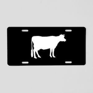 Cow: Black Aluminum License Plate