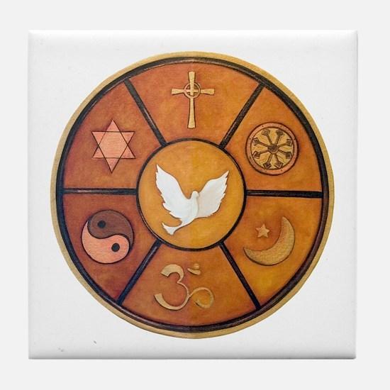 Interfaith Symbol - Tile Coaster