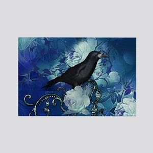 The crow with beautiful flowers in blue colors Mag
