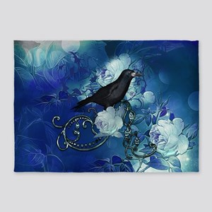 The crow with beautiful flowers in blue colors 5'x