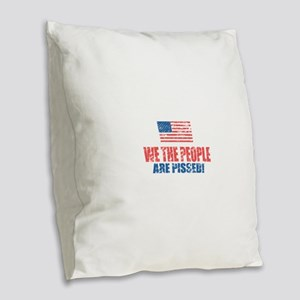 We The People Burlap Throw Pillow
