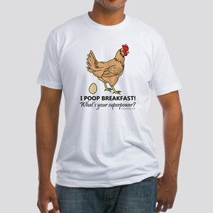 Chicken Poops Breakfast Funny Desig Fitted T-Shirt