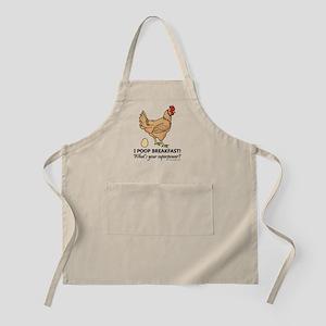 Chicken Poops Breakfast Funny Design Apron