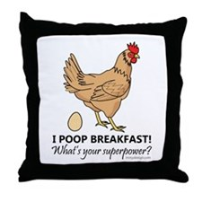 Chicken Poops Breakfast Funny Design Throw Pillow