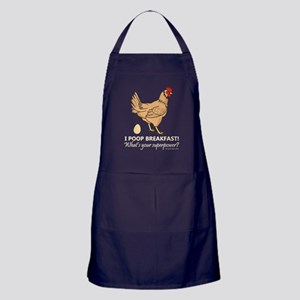 Chicken Poops Breakfast Funny Design Apron (dark)