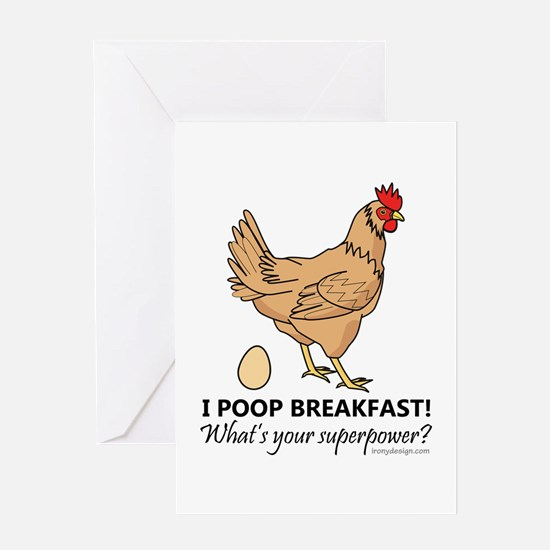 Chicken Poops Breakfast Funny Design Greeting Card