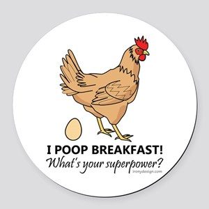 Chicken Poops Breakfast Funny Des Round Car Magnet