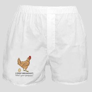 Chicken Poops Breakfast Funny Design Boxer Shorts