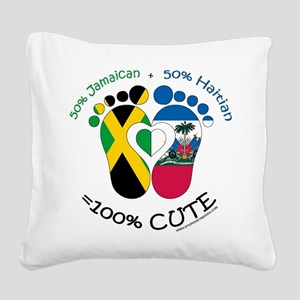 Jamaican Haitian Baby Square Canvas Pillow