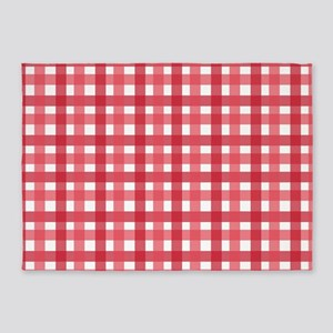 Red Picnic Cloth Pattern 5'x7'Area Rug