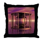 Metal Cage Floating In Water Throw Pillow